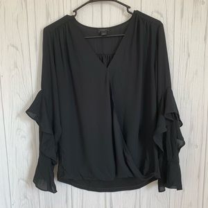 Ann Taylor Factory Black Ruffle Sleeve Blouse